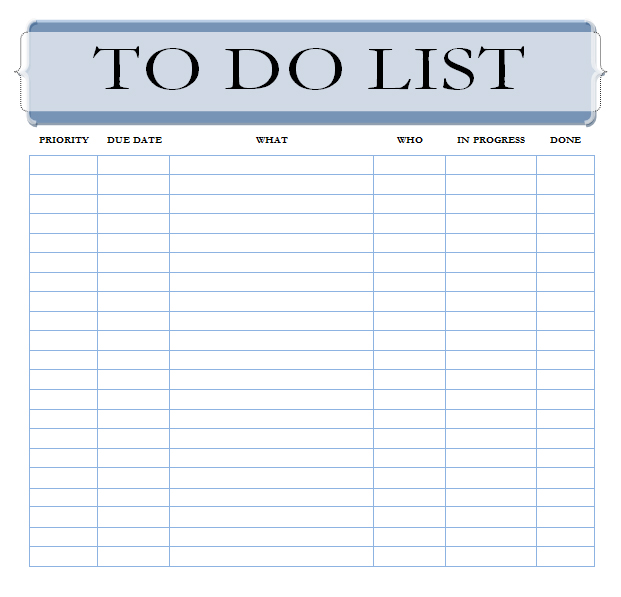 work to do list template